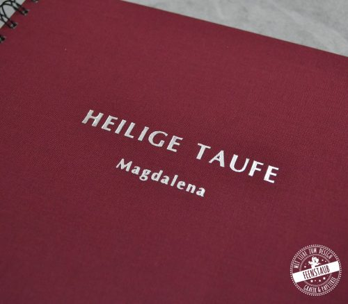 Taufe Gästebuch in Dunkelrot mit silber Prägung