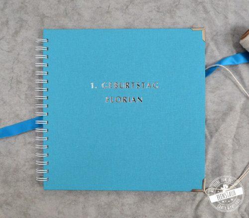 Gästebuch für die Taufe oder 1. Geburtstag Leinen mit Prägung