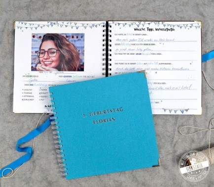 Individuelles Gästebuch mit vorgedruckten Fragen für die Taufe
