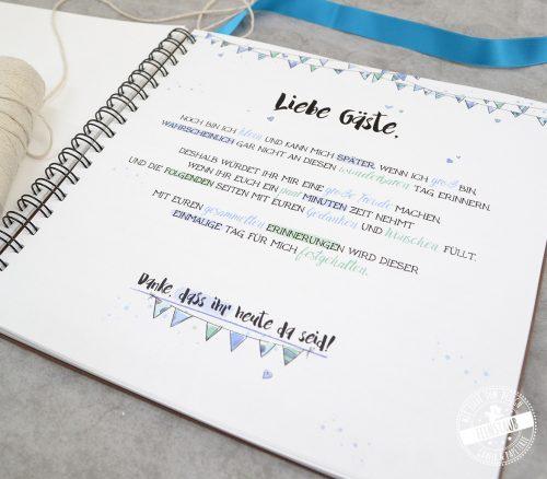 Gästebuch in blau für Taufe oder 1. Geburtstag