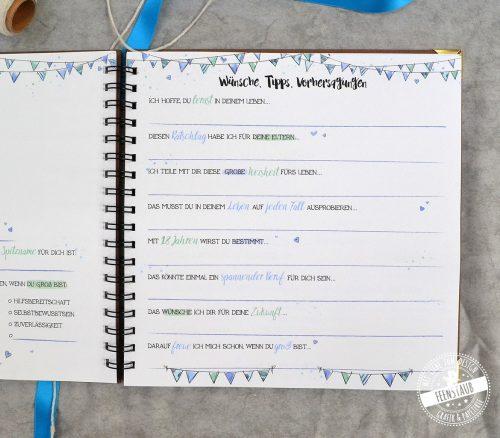 Personalisierbares Gästebuch in blau für den 1. Geburtstag, Babyshower oder die Taufe