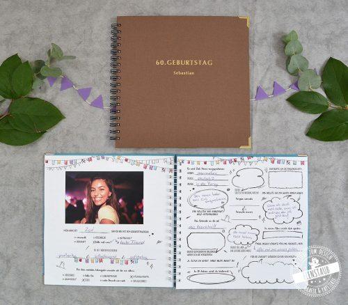Geburtstag Gästebuch mit Fragen an die Gäste