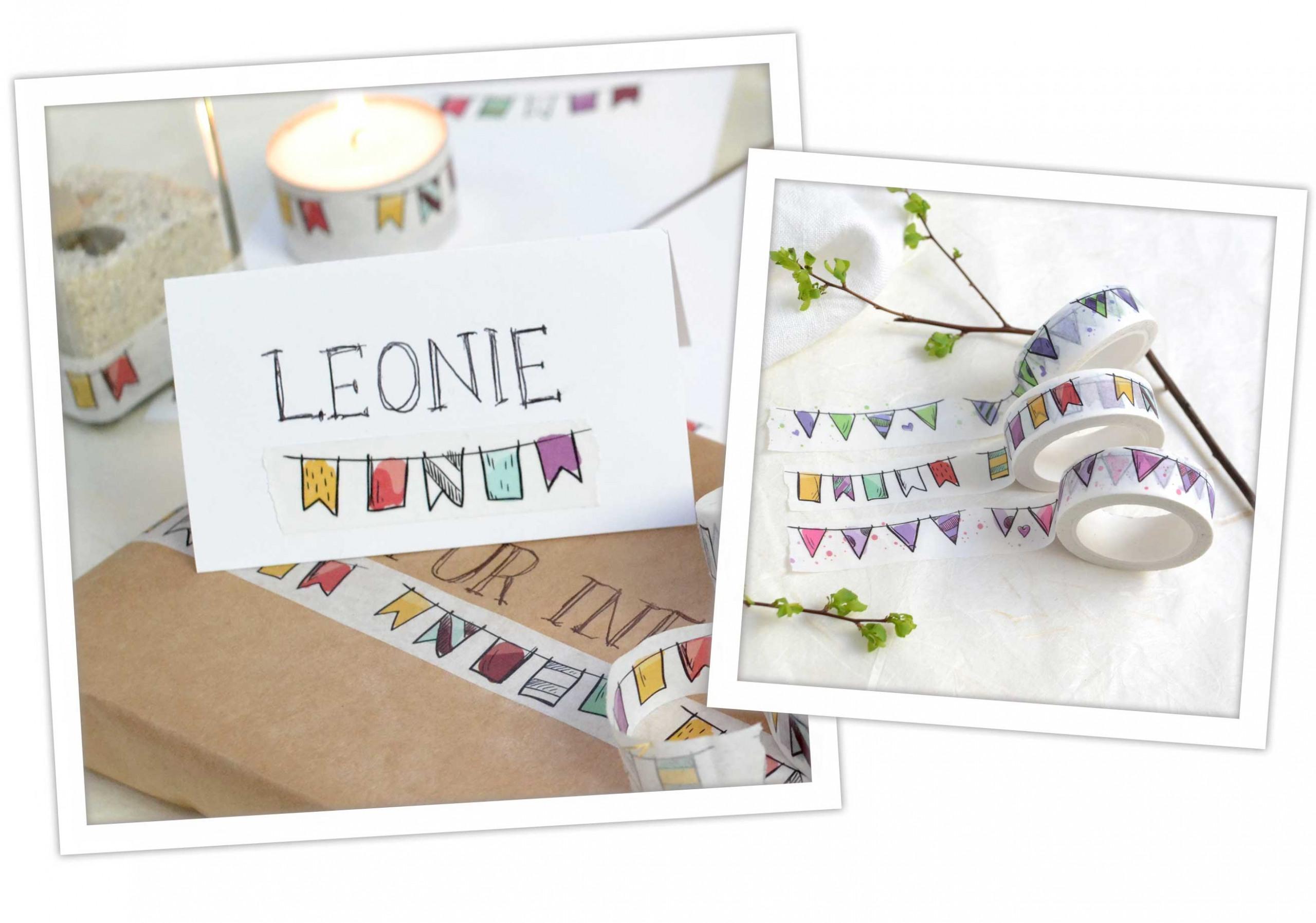 Washi Tape DIY Idee: Namesschild für Geburtstag und Taufe