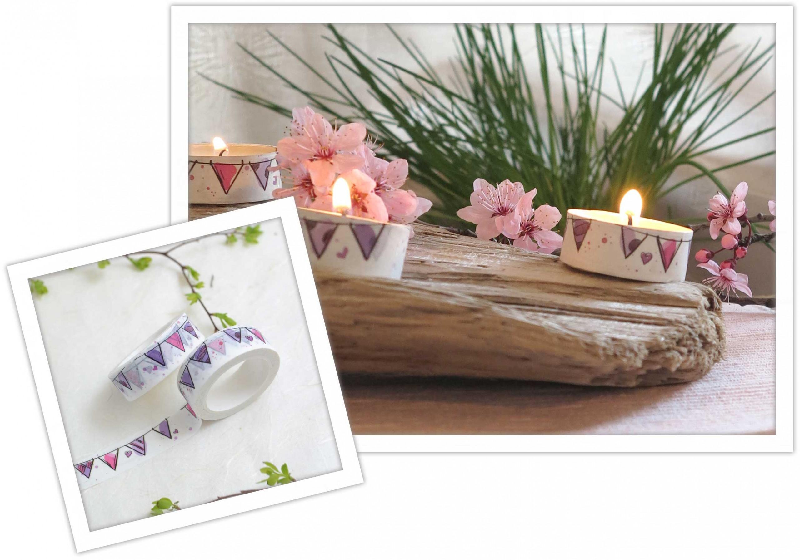 Washit Tape DIY Ideen für dein Wohnzimmer mit Teelichtern
