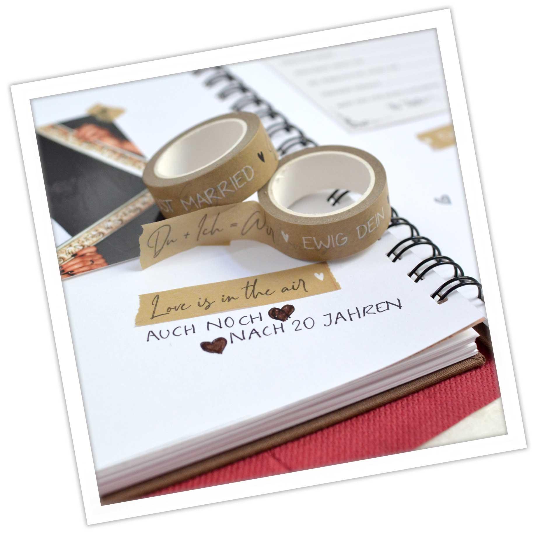 Gästebuch Gestaltung mit Washi Tapes, tolle DIY Idee