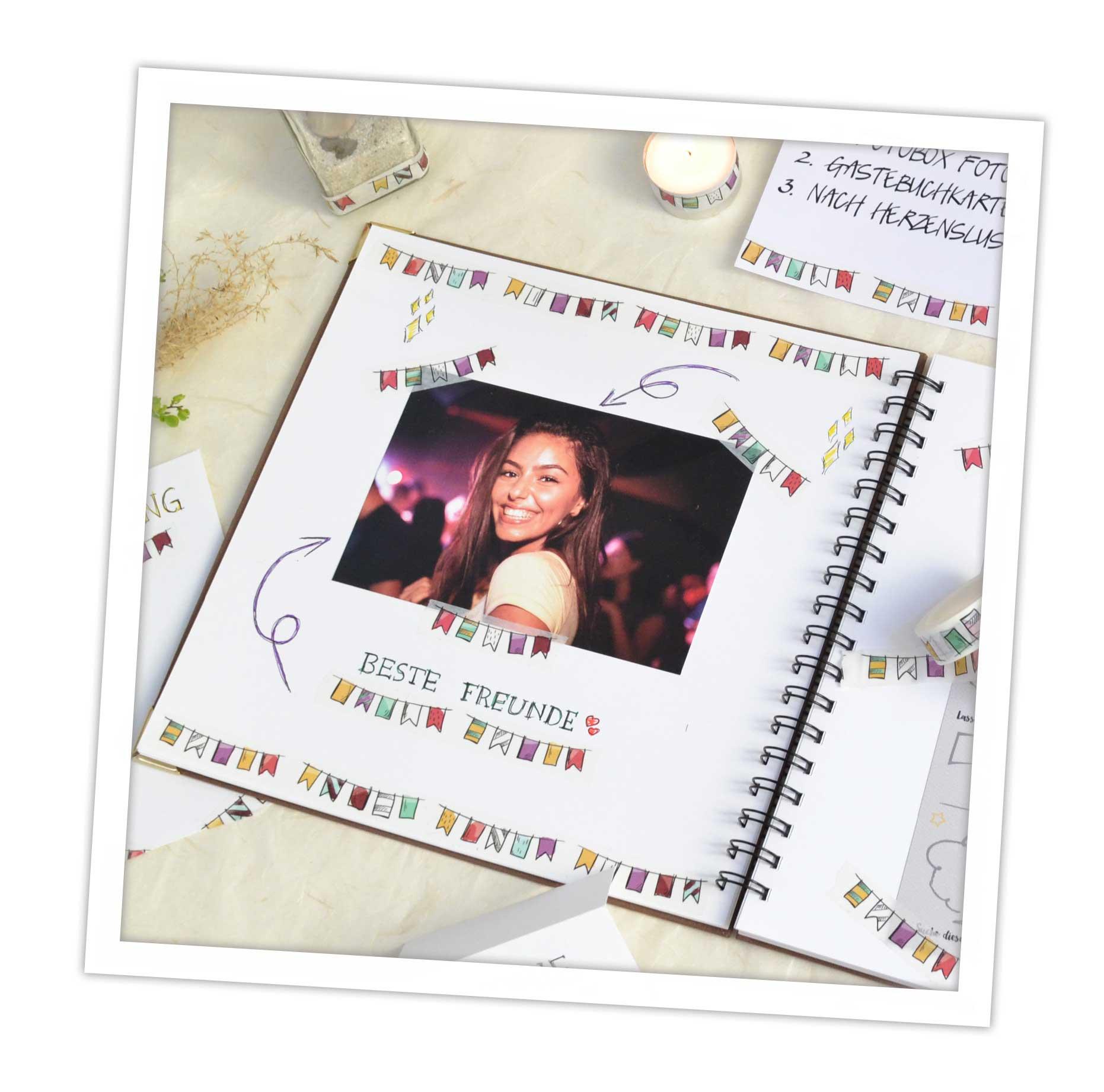 Gästebuch Gestaltung zum Geburtstag mit Washi Tapes, tolle DIY Idee