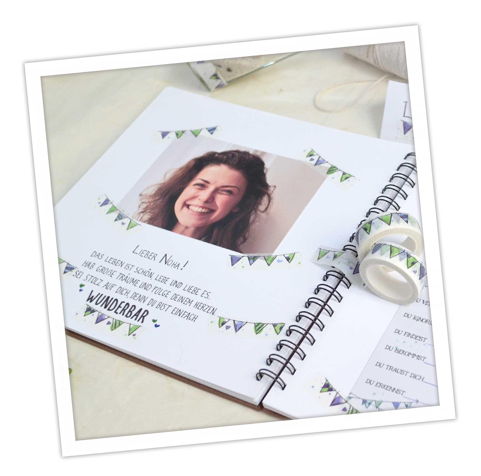 Gästebuch Gestaltung zur Taufe mit Washi Tapes, tolle DIY Idee