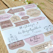 Stickerbögen für Hochzeitsgästebuch