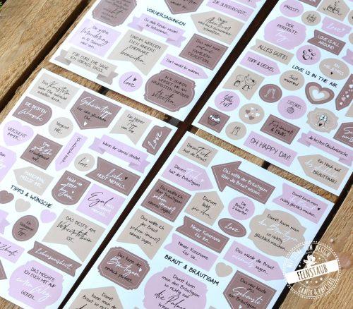 Stickerbögen für Hochzeitsgästebuch mit 7 Themen, Sprüchen, Fragen, Tipps, Wünsche