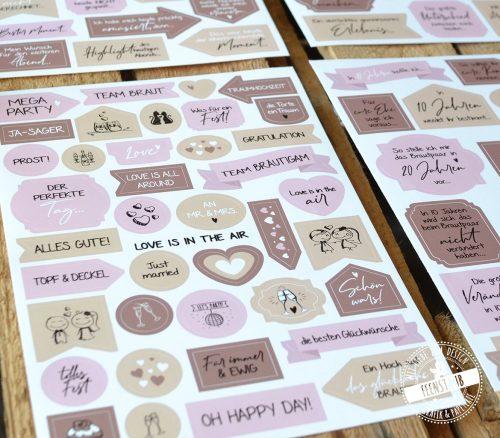 Stickerbögen für Hochzeitsgästebuch mit unterschiedlichen Themen