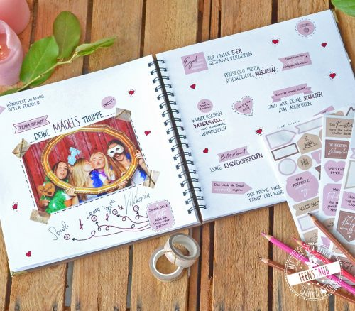 Gästebuch für Hochzeit mit Stickern verschönern