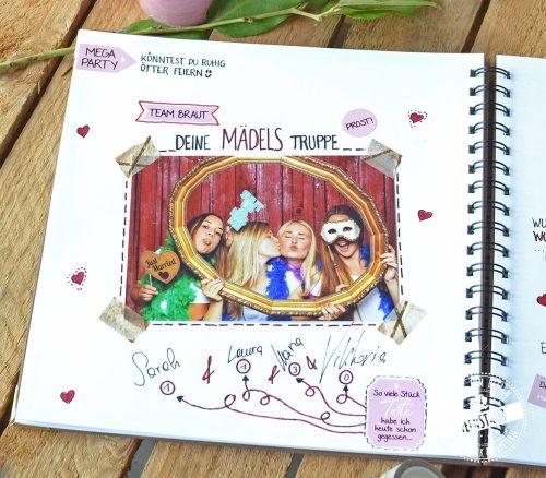 Sticker für Hochzeitsgästebuch mit vorgedruckten Fragen und Sprüchen