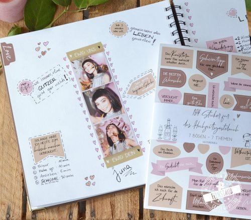 184 Sticker mit Sprüchen, Fragen, Tipps und Wünsche für dein Hochzeits-Gästebuch
