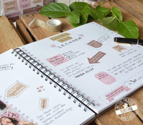 Gästebuch zur Hochzeit mit Stickern dekorieren