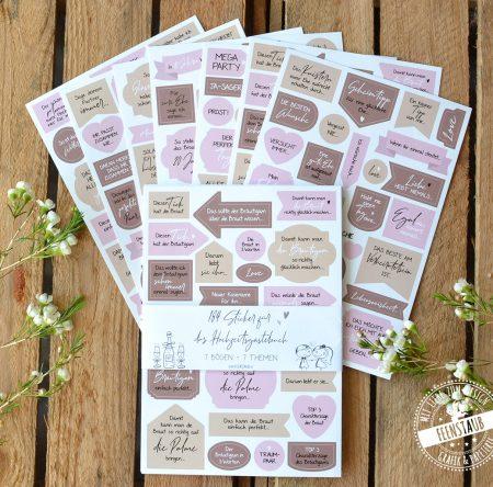 Hochzeitsgästebuch Stickerbögen mit Sprüche und Motiven