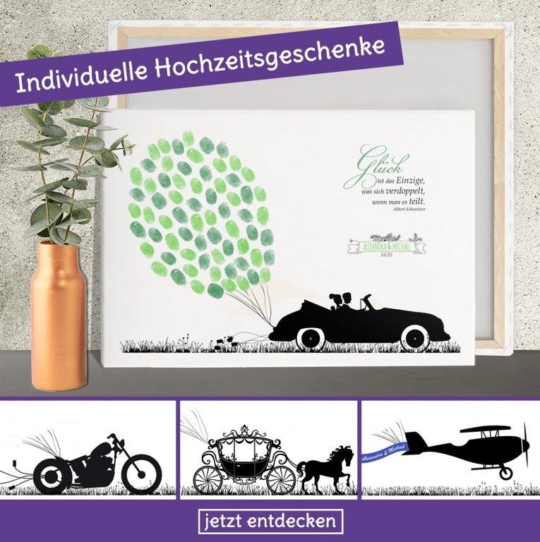 Fingerabdruck Bild zur Hochzeit mit Motorrad, Kutsche, Flugzeug oder Oldtimer