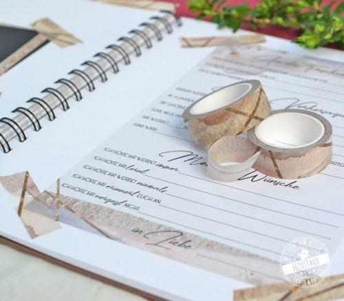 Washi Tape in braun und goldton für das Einkleben von Karten und Fotos ins Hochzeitsgästebuch