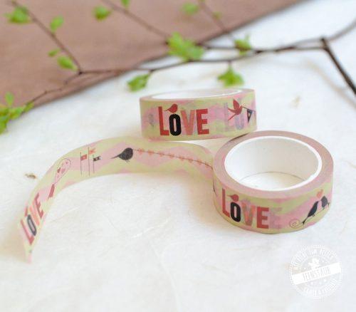 Washi Tape Love mit Vögeln fürs Hochzeitsgästebuch