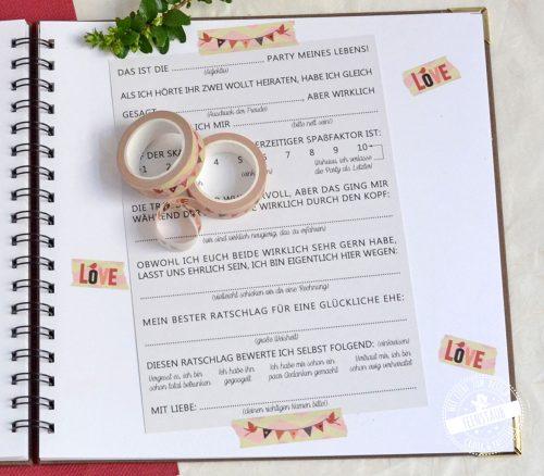 Verzieren und gestalten des Gästebuchs zur Hochzeit