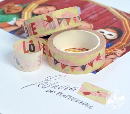Washi Tape in rot, gelb, rosa zur Hochzeit