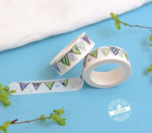 Washi Tape blaue grüne Wimpelkette