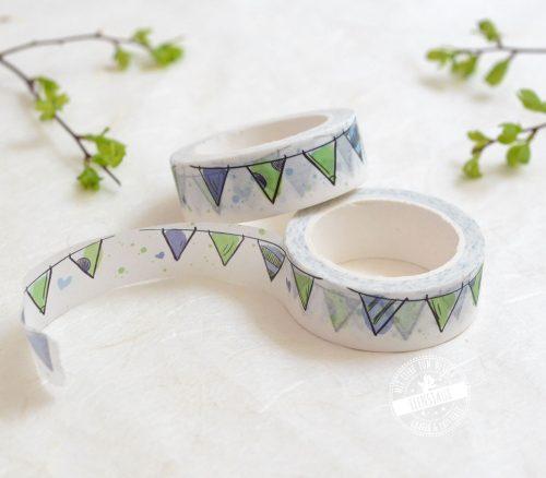 gut klebendes Washi-Tape mit blau grüner Wimpelkette