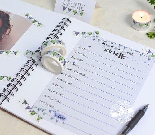 Washi Tape passend zu Taufe und 1. Geburtstag zum Einkleben von Gästebuchkarten und Fotos