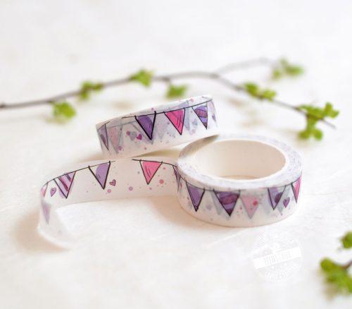 gut haftendes Washi Tape mit rosa Wimpelkette