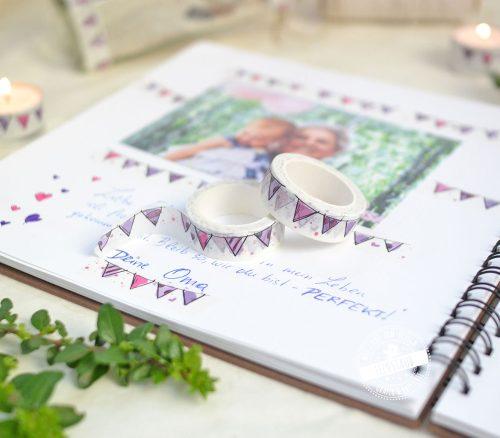 rosa Washi Tape für Gestaltung des Gästebuches