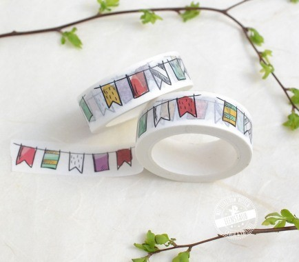 Washi Tape mit bunter Wimpelkette
