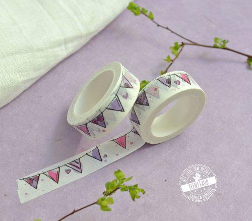 Washi Tape mit Wimpelkette in rosa und flieder