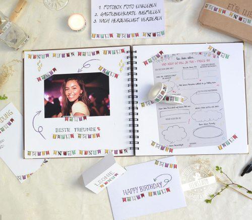 Washi Tape für Geburtstagsgeschenke, Geburtstag Gästebuch kreative Gestaltungsideen