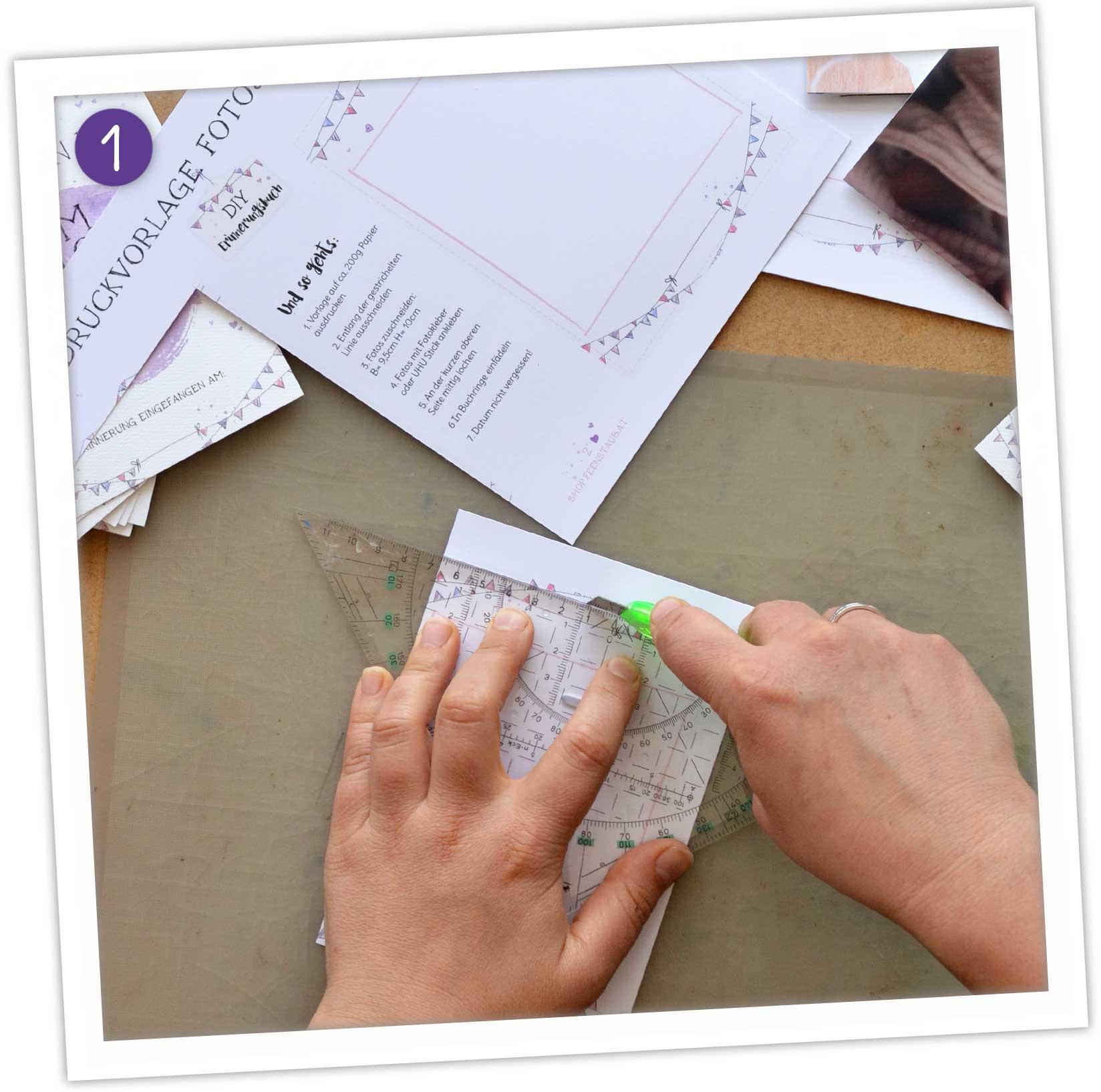 DIY Erinnerungsalbum selber machen: Anleitung Fotoseiten zuschneiden