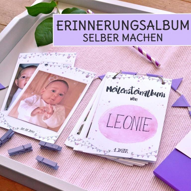 DIY Erinnerungsalbum aus Meilenstein Karten selber machen für dein Baby mit DIY Anleitung
