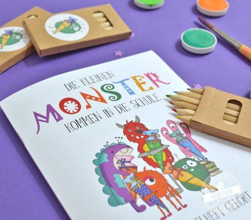 Die kleinen Monster kommen in die Schule Malheft mit 16 Seiten und Buntstiften