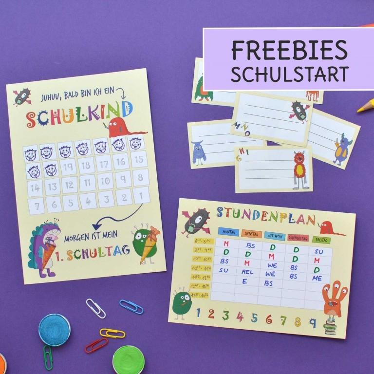 Freebie zur Einschulung mit Stundenplan, Hefteteiketten und Countdown für die Grundschule und Volksschule