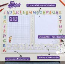 Schreibtischunterlage für Kinder zum Ausmalen mit viel Platz zum Zeichnen und schreiben