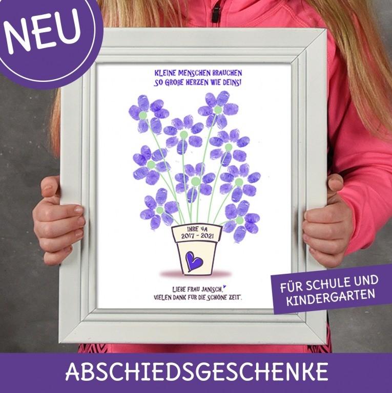 Abschiedsgeschenk für Schule, Kindergarten als Leinwand oder Psoter mit Fingerabdrücken für Lehrer und Erzieherin