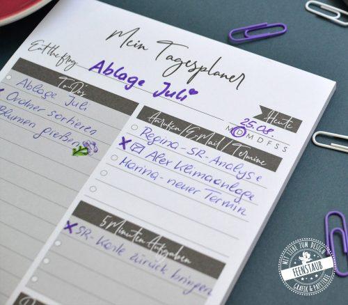 Mein Tagesplaner in A5, Platz für To Do, Termine, 5 Minuten Aufgaben, selfcare