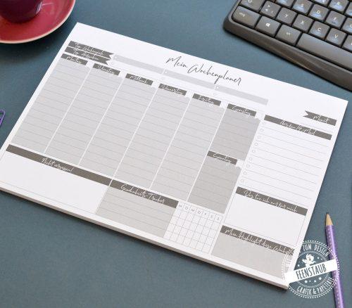 Wochenplaner A4 Notizblock zum Abreißen, perfekt um den Tag zu planen