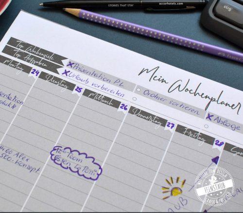 Wochenplaner Notizblock in A4 zum Abreißen mit Top Wochenziele und Top Aufgaben