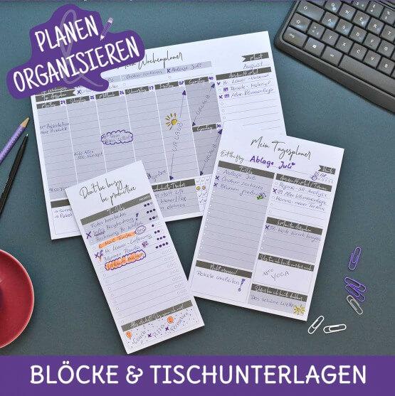 Organisieren und Planen, Wochenplaner, Tagesplaner, Einkaufsplaner, To-Do Liste, Notizblöcke zum Abreißen