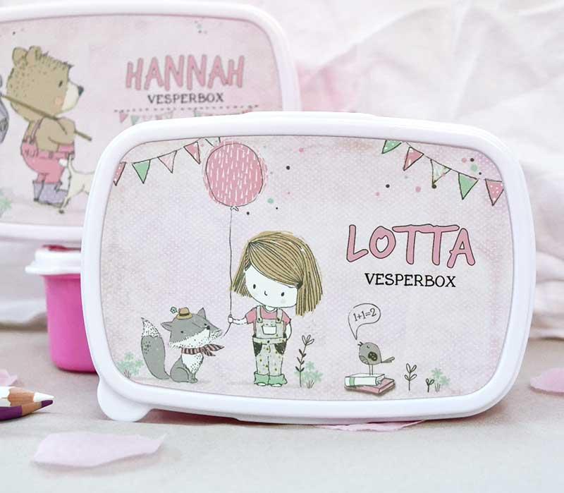 personalisierte Brotdose und Jausenbox für Mädchen in rosa