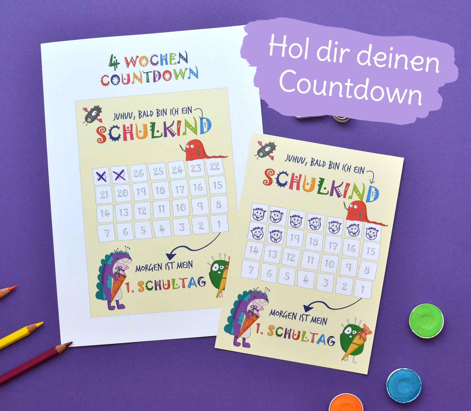 Gratis Download: Countdown für den Schulstart und die Einschulung