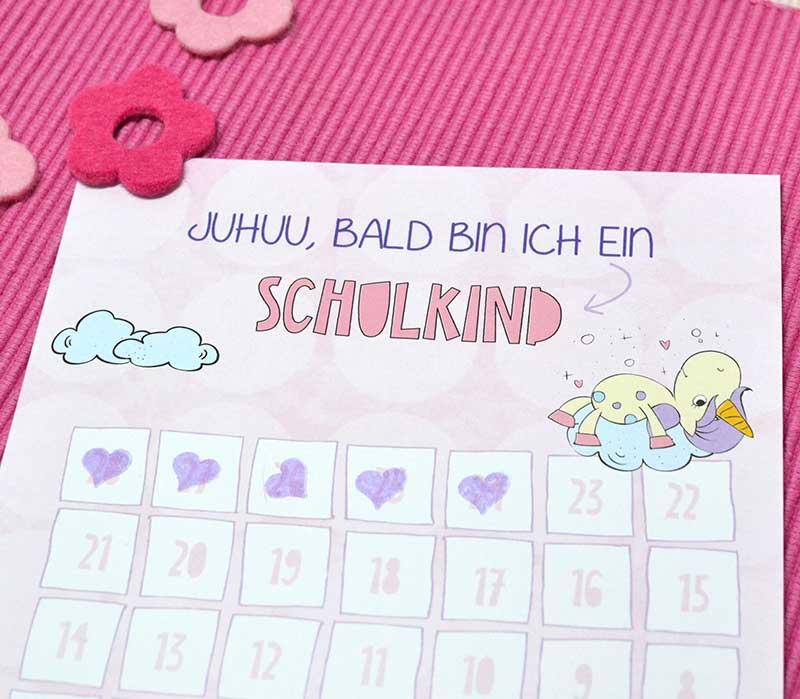 Gratis Countdown mit Einhorn für die Grundschule und Volksschule