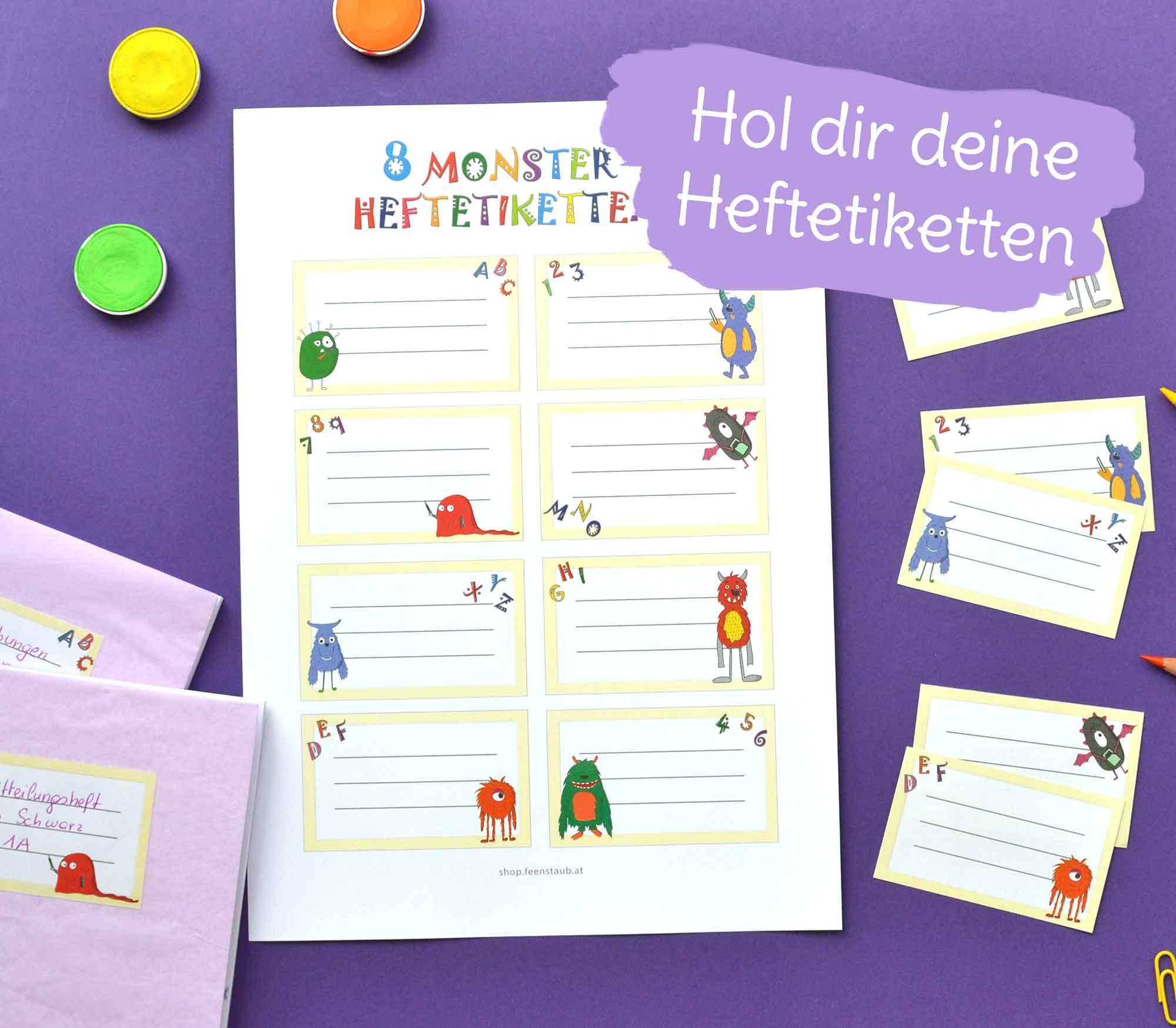 Freebie zum Schulstart mit gratis Heftetiketten zum Ausdrucken