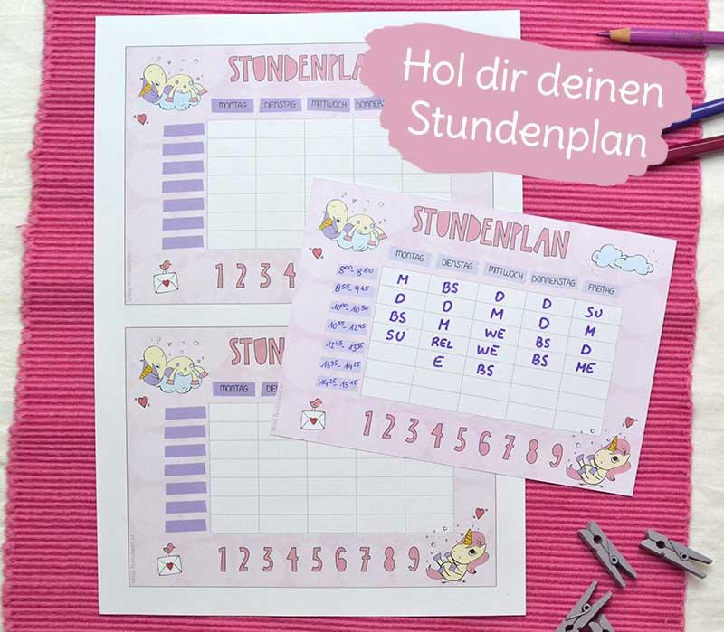 Gratis Stundenplan mit Einhorn für die Grundschule und Volksschule