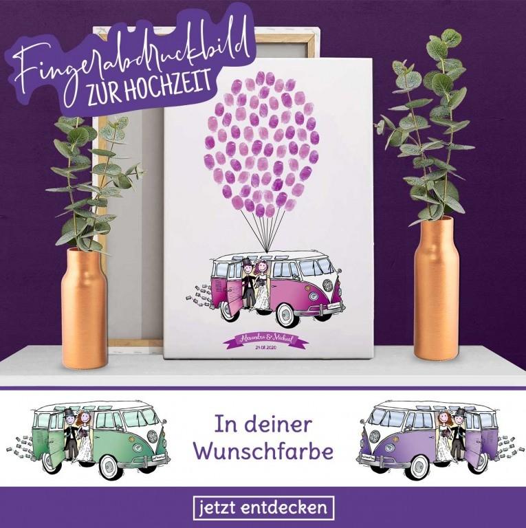 VW Bulli als alternatives Gästebuch zur Hochzeit mit Fingerabdrücken