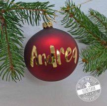 Christbaumkugel rot mit goldenem Namen