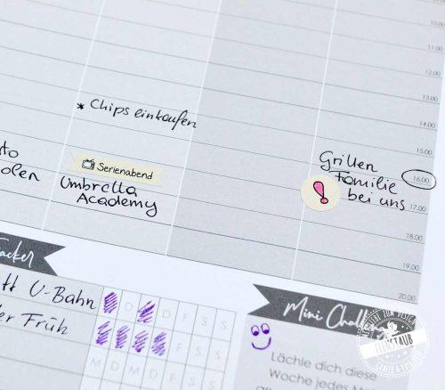 Planer und Kalender Sticker mit wichtigen Terminen und Begriffen
